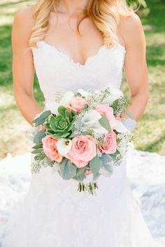 #Coral + Green Bouquet | onelove photography | On SMP - http://www.StyleMePretty.com/california-weddings/escondido-california/2014/01/10/handmade-bandy-canyon-ranch-wedding/