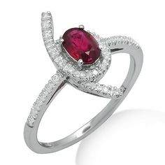 This simple 18k white gold ring features a lovely 0.57ct oval shaped ruby surrounded by brilliant round cut diamonds in a unique pattern. The color of the diamonds are G/H and the clarity is SI2/SI3.Different ring sizes may be available. Please inquire for details. $461.00