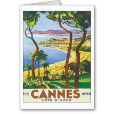 Vintage travel poster for Cannes and cote d' Azur. Size: Small x Gender: unisex. Material: Value Poster Paper (Matte). Poster Art, Kunst Poster, Art Vintage, Vintage Travel Posters, Retro Posters, French Posters, Cannes Francia, Design Retro, French Riviera