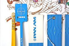 Pan Am luggage tags and swizzle sticks