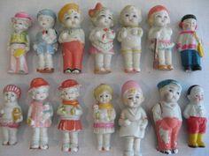 Vintage Miniature Porcelain Bisque Doll Figurines Japan LOT OF 16 JAPAN DOLLS