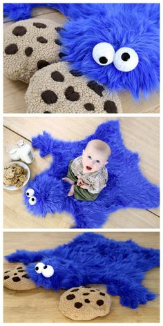 DIY Cookie Monster throw rug (cookie pillows not included..) So stinking cute!