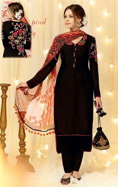 Excellent Black Designer Salwar Kameez