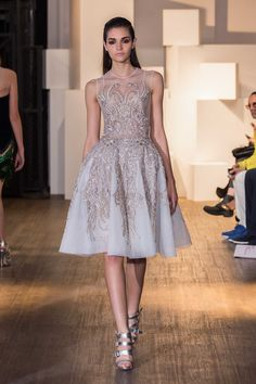 Dany Atrache-Paris Fashion Week-Short white with silver embroidered dress
