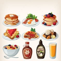 Buy Classic Breakfast Cartoon Set by moonery on GraphicRiver. Classic breakfast cartoon set with pancakes, cereal, toasts and waffles Tostadas, Buttery Shortbread Cookies, Berry, Food Cartoon, Food Icons, Christmas Breakfast, Food Illustrations, Healthy Breakfast Recipes, Food Design
