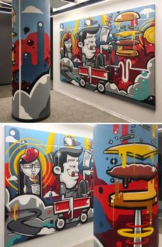Fast Food by Anthony Lewellen at We Are Unlimited Mural Cafe, Cafe Art, Interior Design Hd, Interior Design Companies, Wall Painting Decor, Mural Wall Art, Restaurant Themes, Contemporary Office, Modern