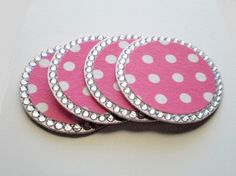 POLKA DOT & BLING Princess Coasters  Set of 4 by LaurieBCreations, $18.00
