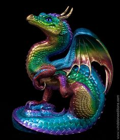 Scratching Dragon - Rainbow - Back In Stock as of 12/10/14 - $220.00 #dragon #statue #collectable
