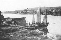 Postcard from cirka 1900 - Fiskebäckskil - in tha far background you can see the church
