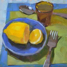 """Lemon Lovers Lunch"" - Original Fine Art for Sale - © Carol Marine"