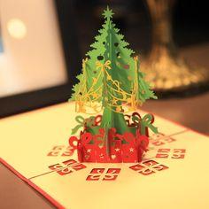 Рождеством Дерево Винтаж 3D Лазерная Резка Всплывающие Бумаги Пользовательские Поздравительные Открытки Ручной Работы Рождественские Подарки Сувениры Открытки