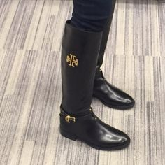 """Size 4.5! Eloise Boots Worn a few times, less than 1 month! Size 4.5! New! No box! 1 1/4"""" heel; 17"""" boot shaft; 14 1/2"""" calf circumference. Side zip closure. Leather upper/leather and textile lining/leather and rubber sole. By Tory Burch; made in Brazil. Salon Shoes. Tory Burch Shoes"""