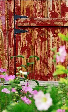 old barn wood on a door
