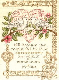free cross stitch patterns for weddings   Wedding and Anniversary Cross Stitch Patterns - Erica's Craft & Sewing ...