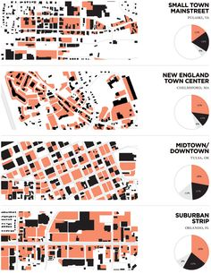 Urban Surface Parking Figure-Ground Studies // Stephen James Kennedy. Pink is surface lots, black buildings and gray streets.