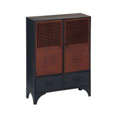 New York Loft Cabinet, 2 Door/2 Drawer, Metal