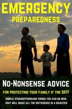 Common sense advice on how to prepare your family for disaster. No-nonsense advice on what to do to protect your family if the SHTF. Survival Supplies, Survival Food, Outdoor Survival, Survival Prepping, Survival Skills, Emergency Preparation, Zombies Survival, Prepper Food, Emergency Planning