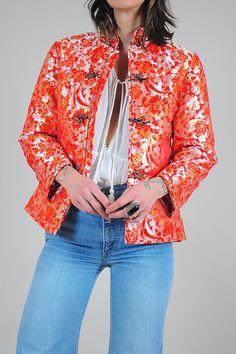 60s Asian cheongsam floral jacket by NOIROHIOVINTAGE on Etsy
