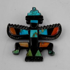 Zuni Knifewing Pin Mosaic Inlay  Vintage by ICandyCollectibles