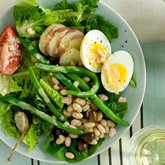 Nicoise Salad. Just substitute ground mustard for the dijon, and select vinegar-free olives.