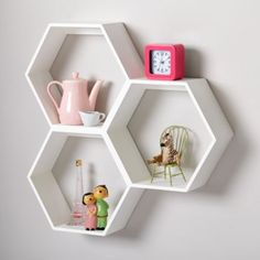 shelf for kids' room Honeycomb Wall Shelf (White) Honeycomb Shelves, Hexagon Shelves, White Wall Shelves, Floating Shelves, Room Shelves, Big Girl Rooms, Baby Decor, New Room, Kids Furniture