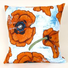 Persimmon Poppy 20 inch Pillow Cover by MiCasaBella on Etsy, $30.00