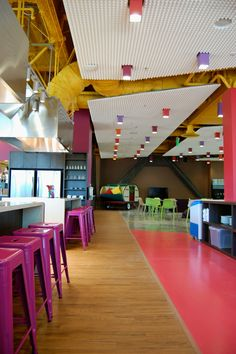 Use of color is amazing in this space.. The floor is a great way to move students from one space to another... have other ideas about the floor too.
