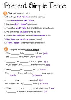Present Simple Tense Language: Grade/level: elementary School subject: English as a Second Language (ESL) Main content: Present Simple Other contents: present simple, tenses English Grammar For Kids, English Grammar Tenses, Teaching English Grammar, English Worksheets For Kids, English Lessons For Kids, English Activities, Grammar Lessons, English Language Learning, English Writing