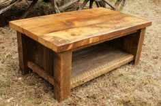 This coffee table is made from 100% reclaimed barnwood salvaged here in northwest Montana. This table measures 40 inches x 22 inches wide x 17