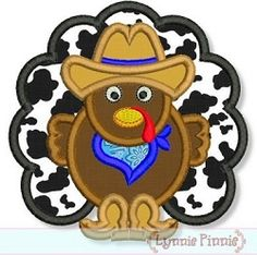 Cowboy Turkey Applique - 4 Sizes! | Thanksgiving | Machine Embroidery Designs | SWAKembroidery.com Lynnie Pinnie