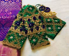 gorgeous green color designer blouse with floret lata design hand embroidery gold thread and bead work. Saree Jacket Designs, Wedding Saree Blouse Designs, Pattu Saree Blouse Designs, Best Blouse Designs, Simple Blouse Designs, Saree Blouse Patterns, Designer Blouse Patterns, Designer Dresses, Indian Gowns Dresses