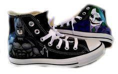 Sale Batman Shoes Joker Shoes Hand Painted by BoutiqueWhimsy