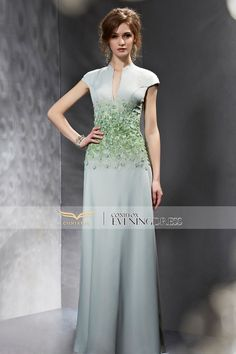 Green and Grey Beading Appliques Low V-neck Cap Sleeve Mermaid Dress #prom2k15 #promdress #dress #fashion #glam #designerpromdress