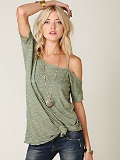 Off the shoulder shirt, with bottom knot. Love. (Free People)