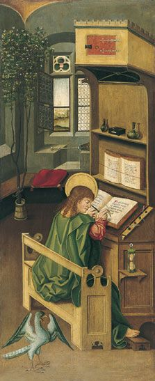 Saint John the Evangelist. Panel in the Altar of the Four Evangelists by Gabriel Mälesskircher, c. Now in the Museo Thyssen-Bornemisza, Madrid. Medieval Life, Medieval Art, Medieval Fantasy, Renaissance Art, Medieval Manuscript, Illuminated Manuscript, St John The Evangelist, Medieval Furniture, Medieval Paintings