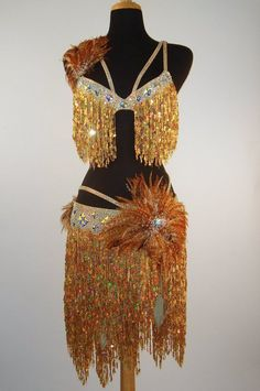 Gold fringe and feathered two piece