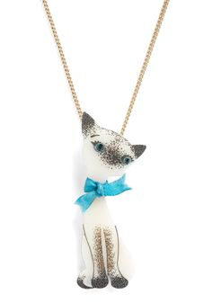 Cat Live Without Necklace by Tatty Devine - White, Blue, Black, Bows, Casual, Kawaii, Solid