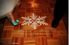 Snowflake Dance Floor Decal... Its perfect for a winter wedding theme!  Custom decals made for your wedding or event at www.wicksncandlesticks.com!