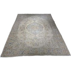 """Vintage Distressed Turkish Oushak Rug - 7'4""""x10'1"""" ($2,650) ❤ liked on Polyvore featuring home and rugs"""