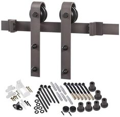 Renin BD102K-96 Bent Strap Barn Door Hardware Kit, Antique Bronze