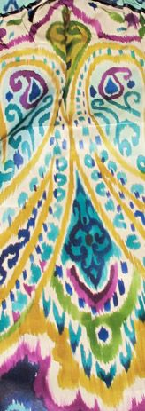 KB - Painted ikat. Gorgeous colours. Yellow, Aqua, Blue, Green