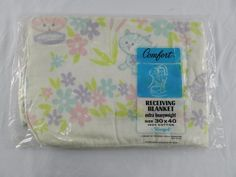 Vintage Riegel Receiving Baby Blanket Kittens Cat Flowers USA NEW NIP Cotton