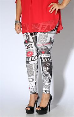 Plus Size Legging with Newspaper Print with Red Accents
