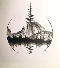 Half Dome in Yosemite Art by Robin Halmhofer - .- Half Dome in Yosemite-Kunst von Robin Halmhofer – Half Dome in Yosemite Art by Robin Halmhofer – - Trendy Tattoos, Cute Tattoos, Body Art Tattoos, Small Tattoos, Sleeve Tattoos, Tatoos, Natur Tattoos, Kunst Tattoos, Bild Tattoos