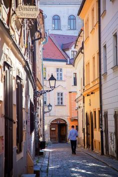 Greetings Card-Man walking along street in Old Town, Bratislava, Slovakia-Photo Greetings Card made in the USA Budapest, Montenegro, Bósnia E Herzegovina, Bratislava Slovakia, Walking Street, Architecture Old, Drawing Architecture, Heart Of Europe, Travel Images