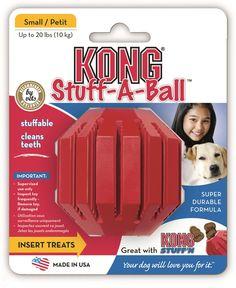 Hundespielzeug Kong Stuff-A-Ball - Vollgummi, zahnpflegend, befüllbar mit Snacks
