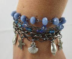 Gunmetal and Blue Seaside Charm Bracelet by UnfeatherbyRobyn, $28.00