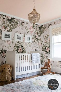 Roses Floral Pastel wall mural Pale Vintage wallpaper - perfect for a whimsical and dreamy little girls nursery. Nursery home decor inspiration. Nursery home decor and interior design. Nursery Wall Murals, Nursery Room, Nursery Decor, Room Decor, Project Nursery, Nursery Ideas, Room Ideas, Boy Room, Wall Decor