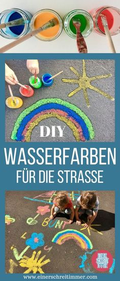 DIY: Make watercolors for street painting yourself - Kindergarten - Chalk Diy Tumblr, Diy For Kids, Crafts For Kids, Street Painting, Chalk Art, Oeuvre D'art, Kids And Parenting, Diy Gifts, Baby Shower Gifts