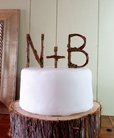 Rustic Wedding Cake Topper - Any Two Vine Letters with Plus Sign. $50.00, via Etsy.